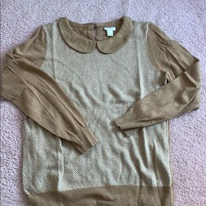 J.Crew Wool Blend Herringbone Peter Pan Sweater